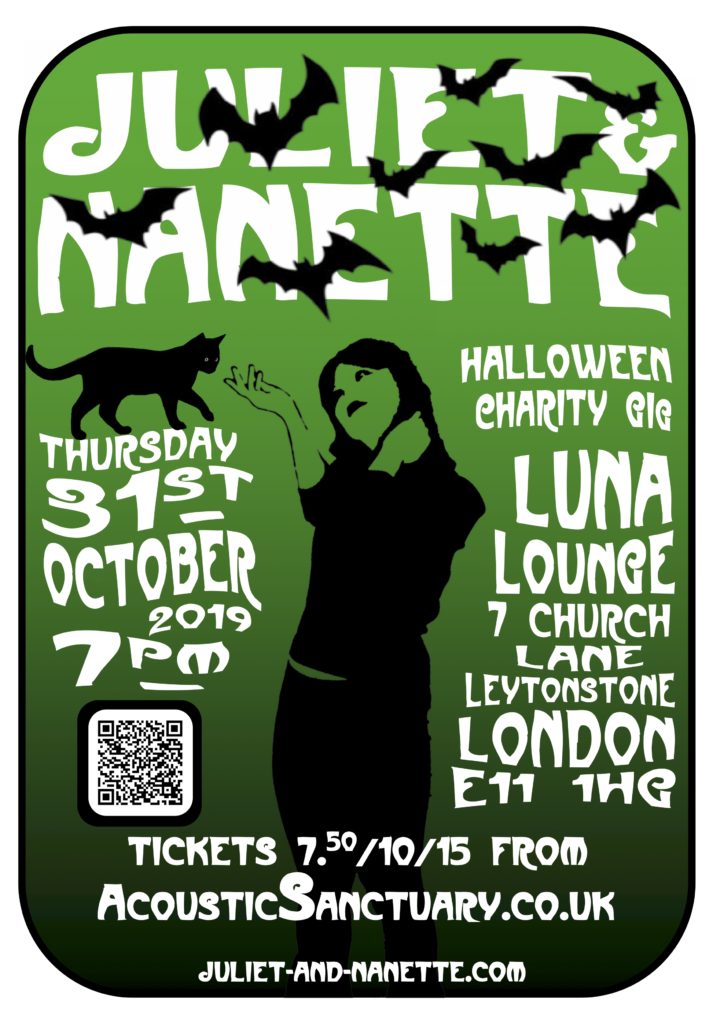 Juliet & Nanette, Halloween Charity Gig and Party at Luna Lounge E11, 31 Oct 2019